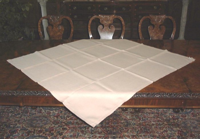 VINTAGE LINEN SQUARE TABLE CLOTH or OVERLAY