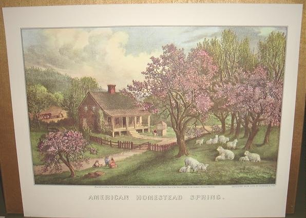 Currier & Ives Print AMERICAN HOMESTEAD SPRING Country