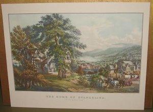 Currier & Ives Print HOME OF EVANGELINE In Acadian Land