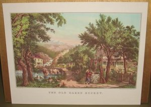 Currier & Ives Print THE OLD OAKEN BUCKET Cows Ducks