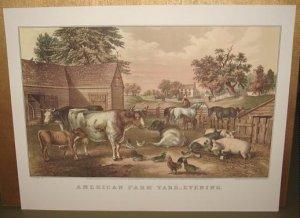 Currier & Ives Print AMERICAN FARM YARD EVENING