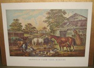 Currier & Ives Print AMERICAN FARM YARD MORNING