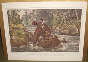 Currier & Ives Print BROOK TROUT FISHING Camp Boat
