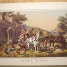 Currier & Ives Print PREPARING FOR MARKET Country Horse