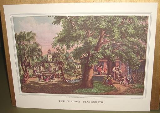 Currier & Ives Print THE VILLAGE BLACKSMITH Country