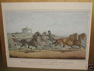 Currier & Ives Print PASSING THE STAND 4 Horses in Race