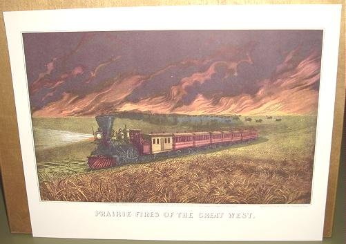 Currier & Ives Print PRARIE FIRES OF GREAT WEST Train