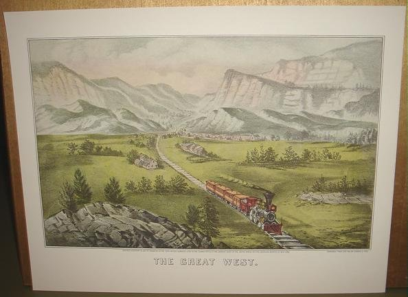 Currier & Ives Print THE GREAT WEST Train scene Country