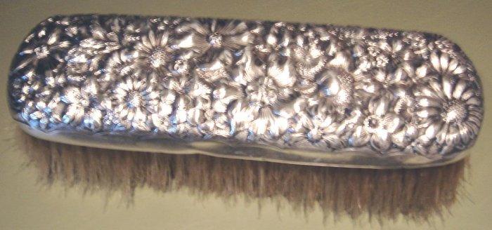 Fabulous English Antique Repousse Sterling Clothes Brush