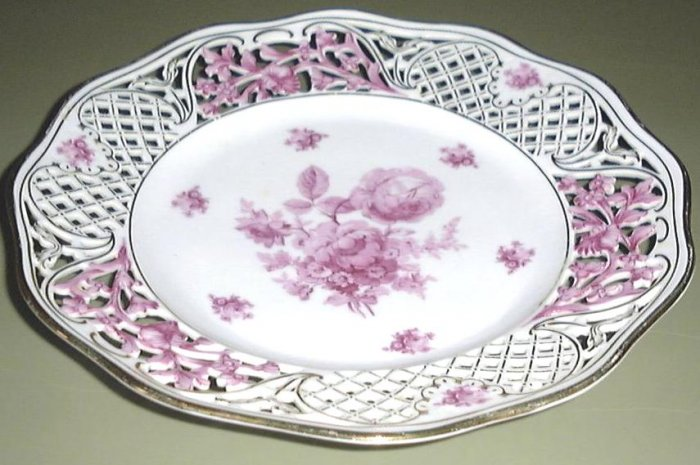 Rose & Gold Pierced Plate Schumann Arzberg Dresden Germany