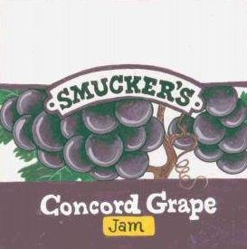 HAND PAINTED DECORATIVE FOOD LABEL CERAMIC TILE by TENNESSEE ARTIST, Smucker's Concord grape jam