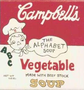HAND PAINTED DECORATIVE FOOD LABEL CERAMIC TILE by TENNESSEE ARTIST, Campbell's soup