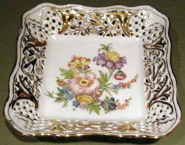 Dresden Flowers Square Decorative Reticulated  Dish Schumann Bavaria Germany artist signed