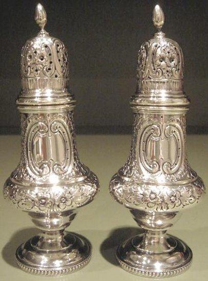 Fine Large Hand Chased Sterling Silver Salt & Pepper Shaker Set England Shakers