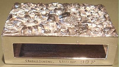 ca 1925-32 S. Kirk & Son Inc Sterling Silver REPOUSSE Match Box Case Safe