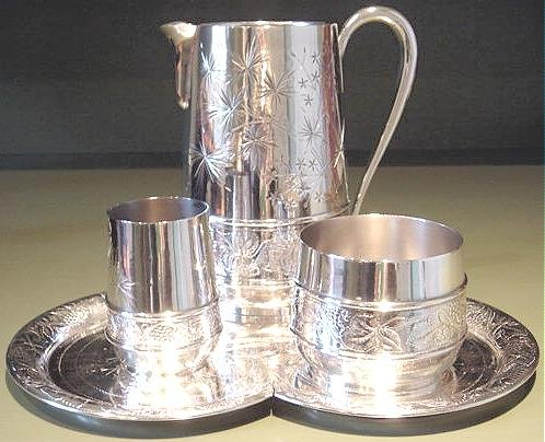 PAIRPOINT 4 Piece Bedside Table Set Tray Pitcher Goblet Waste