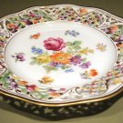 Schumann Dresden Flowers Pierced CHATEAU Dessert Pie Plate Bavaria Germany US Zone