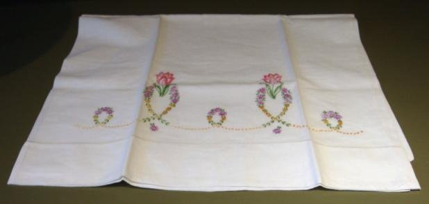 Pair Beautiful Vintage Pillowcases with Handmade Embroidery