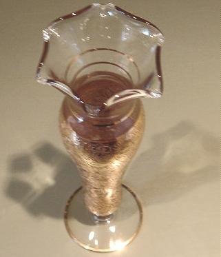 Elegant Glass Vase, Gold Overlay, ca 1920-1950s