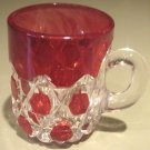 EAPG Tumbler Early Red Block Glass Mug ca 1886-1893