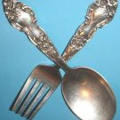 Sterling Baby Fork & Spoon Meadow Rose by Watson ca 1907