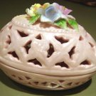 New Porcelain Trinket Box Pink Lattice Egg & Flowers