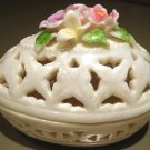 New Porcelain Trinket Box Cream Lattice Egg & Flowers