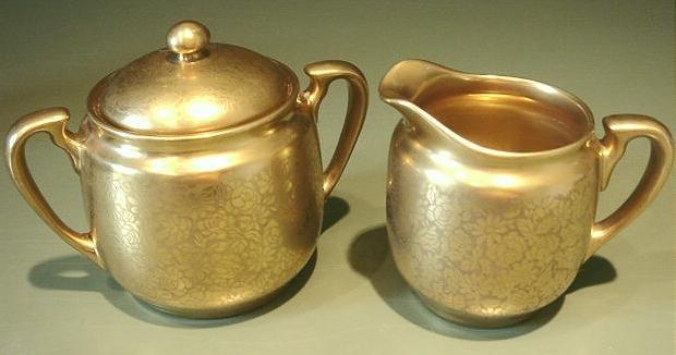 Vintage Pickard Gold Overlay on Porcelain Sugar & Cream Pitcher
