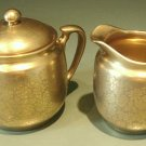 Vintage Pickard Gold Overlay on Porcelain Sugar & Cream Pitcher