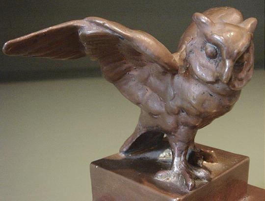 Vintage Bronze Owl Figurine Great Patina