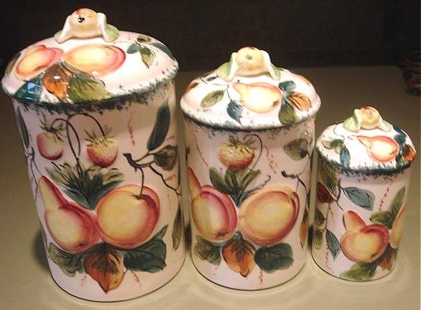 Vintage 3 Canister Set Hand Painted Fruit