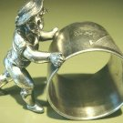 Ca 1886-87 Meriden Silver Figural Napkin Ring Boy Pushing Ring