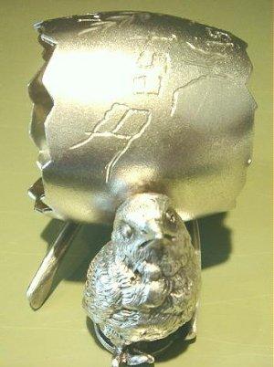 Antique Victorian Derby Silver Figural Napkin Ring Chick Egg Wishbone