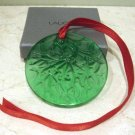 LALIQUE Green Crystal Glass Mistletoe Christmas Ornament
