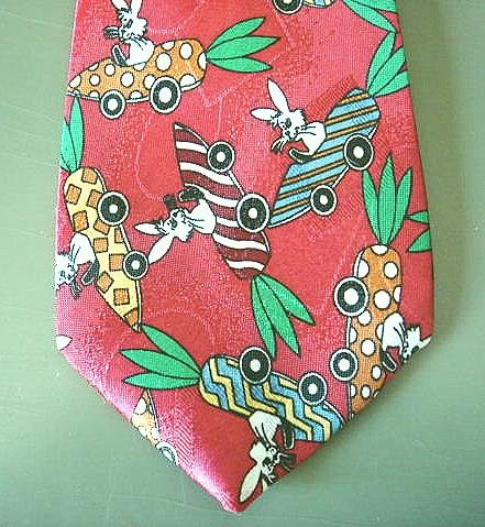 CUTEST Boy's Necktie, Red Clip, Rabbits in Carrot Cars