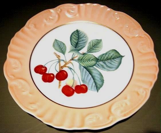 "Mottahedeh Summer Fruit CHERRIES Porcelain 8"" Plate Portugal"