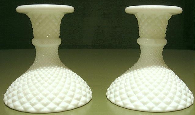Pr. Vintage English Hobnail Milk Glass Candlesticks