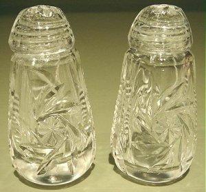 Vintage Cut Glass Crystal Salt Pepper Shakers Set