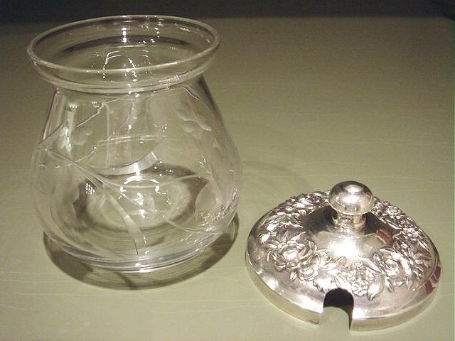Etched Crystal Jam Preserves Jar Pot S Kirk & Son REPOUSSE Sterling Lid