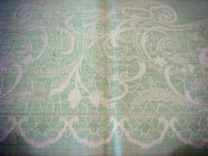 Large Vintage Tablecloth with Woven Lace Design