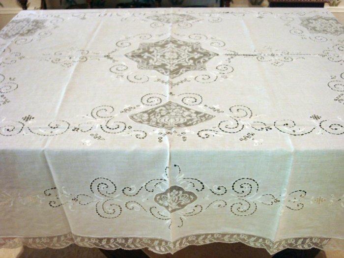 Fancy Vintage European Linen & Filet Lace HANDMADE Tablecloth, Cloth #90