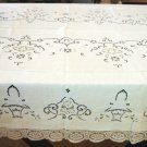 Vintage European Linen & Lace HANDMADE Tablecloth, Needlepoint & Filet Lace, Cloth #89