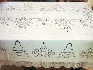 Vintage European Linen & Lace HANDMADE Tablecloth, Needlepoint & Filet Lace, Cloth #89