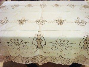 Vintage Linen & Needlepoint Lace HANDMADE Tablecloth, Cloth #87