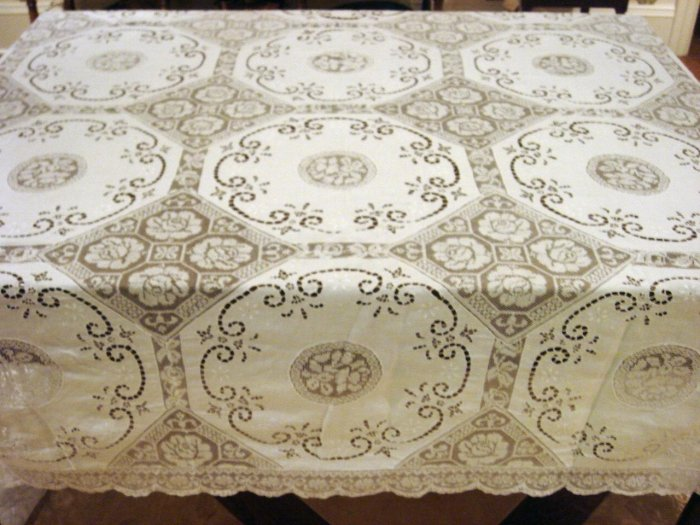 Vintage Banquet Size HANDMADE Linen Cutwork, Filet Lace Tablecloth, Cloth #93