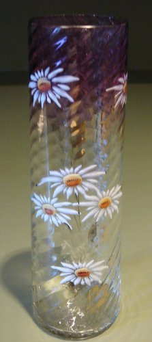 Early Tall Glass Vase Enamelled Daisy Flower Design