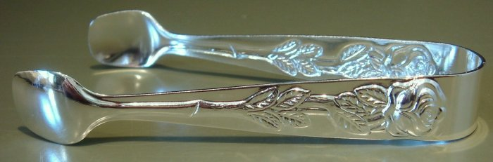 Rose Handle Silverplate Sugar Tongs