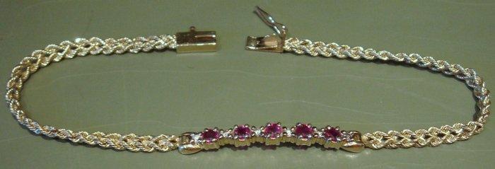 """7 1/2"""" 14K Gold Bracelet, Rubies & Diamonds with Safety Catch"""