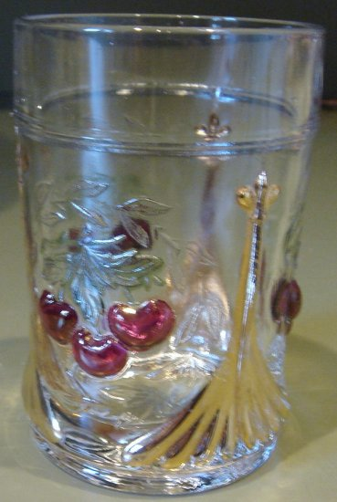 Vintage Three Cherries Cherry & Wreath Pattern Glass Tumbler L. G. Wright Glass Co