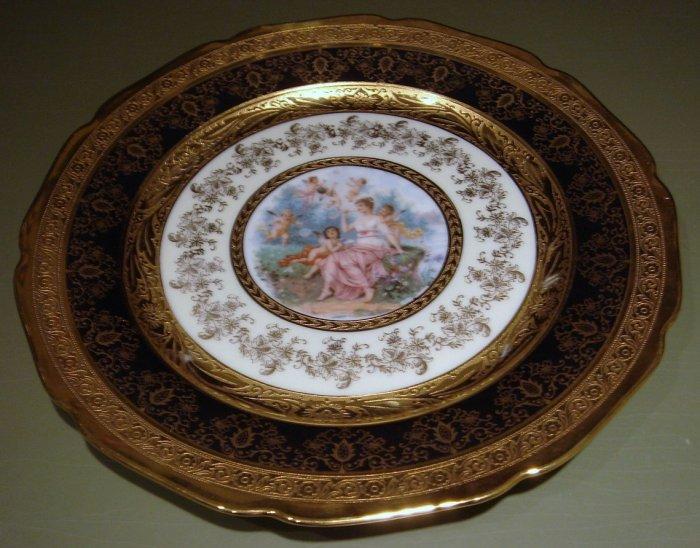 "10 3/4"" Bohemian Gold Hand Decorated Porcelain Plate Figural Cherubs"